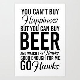 Hawks & Beer Art Print