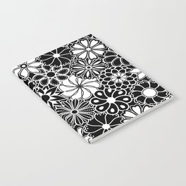 Mid Century Hawaiian Flower Print - Black and White Notebook