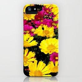 FUCHSIA PINK GARDEN YELLOW COREOPSIS FLOWERS iPhone Case