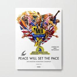 #MEB is the #MAN #AMERICAN #CHAMPION #BOSTON #MARATHON 2014 #HighVelocityArt #Illustration Metal Print