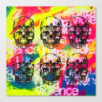 ultraviolence Canvas Prints featuring Ultraviolence 4i skull - mixed media on canvas by kakin