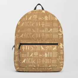 Golden Ancient Egyptian Hieroglyphs Backpack