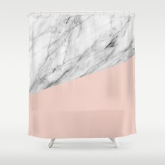 Marble and pale dogwood color Shower Curtain