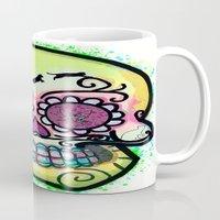 calavera Mugs featuring calavera cats by grapeloverarts
