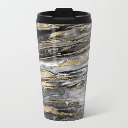Stylish gold abstract marbleized paint Travel Mug