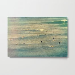 Maui Surfers Retro Metal Print