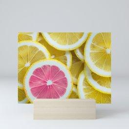 Yellow Sliced Lemons and One Pink Mini Art Print