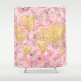 Gold and pink marble world map Shower Curtain