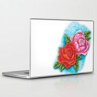 peonies Laptop & iPad Skins featuring peonies by missfortunetattoo