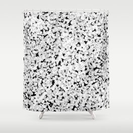 Digital Sponge Texture made up of  white bubbles on a black background Shower Curtain