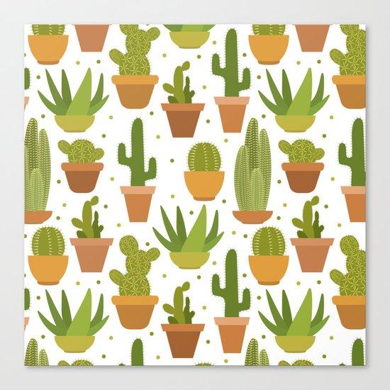 Cactuses white pattern Canvas Print
