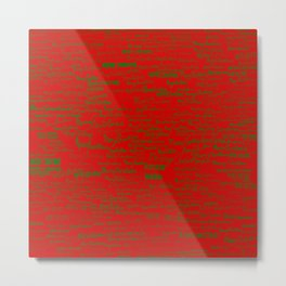 Merry Christmas, green on red Metal Print