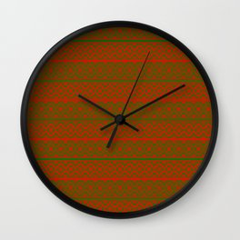 Red and Green Classic Nordic Christmas Pattern Wall Clock