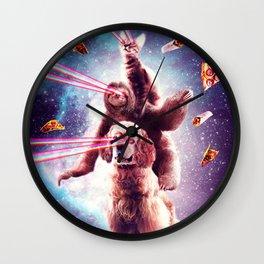 Laser Eyes Space Cat Riding Sloth, Dog - Rainbow Wall Clock