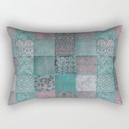 Nostalgic Patchwork Pattern Teal And Pink Rectangular Pillow