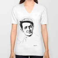 springsteen V-neck T-shirts featuring Woody Guthrie by Paul Nelson-Esch Art