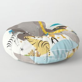 Kids Room Animals – Illustration for the sleeping room of girls and boys Floor Pillow