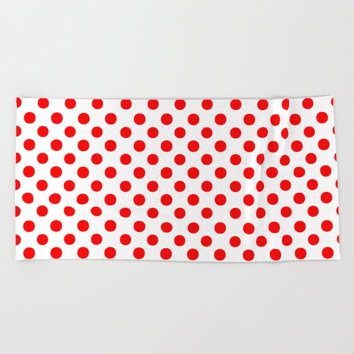 Polka Dots (Red/White) Beach Towel