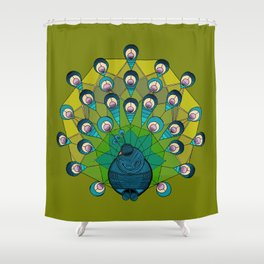 a heptagonal peacock Shower Curtain