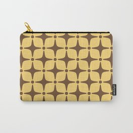 Mid Century Modern Star Pattern Brown and Yellow Carry-All Pouch