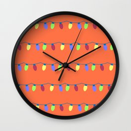Colorful Strings of Hanging Lights Wall Clock