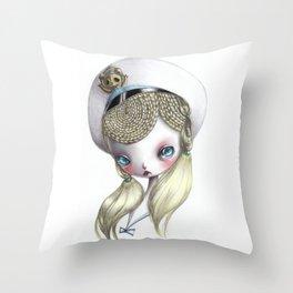 Girl in Uniform Throw Pillow