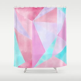 Geometrical Pink Lilac Teal Watercolor Hand Painted Pattern Shower Curtain