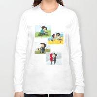 sterek Long Sleeve T-shirts featuring Sterek kisses by agartaart
