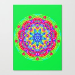Amazing Day Neon Mandala Canvas Print