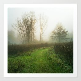 Beautiful Morning - Autumn Field in Fog Art Print