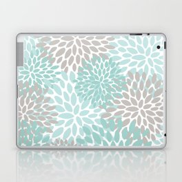 Floral Pattern, Teal, Aqua, Turquoise,Gray Laptop & iPad Skin
