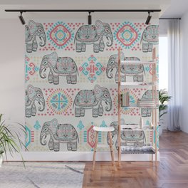 Elephant Parade,  Boho Pattern Wall Mural