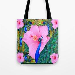 TROPICAL PINK HIBISCUS PEACOCK GREEN ART Tote Bag
