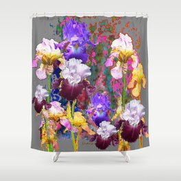 Decorative Spring Grey Iris Yellow & Pink Garden Shower Curtain
