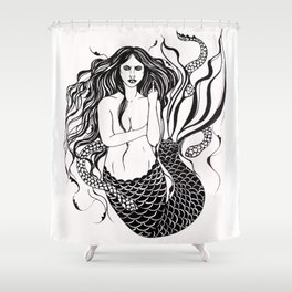 Angry Mermaid Ink Drawing Shower Curtain
