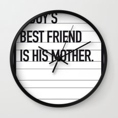 My Psycho Movie Quote poster Wall Clock