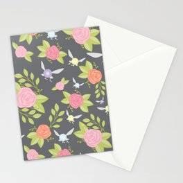 Garden of Fairies Pattern in Grey Stationery Cards