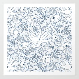 Cephalopods: White and Blue Art Print