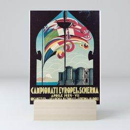 affiche campioni europei di scherma aprile 1929 napoli drapeau Mini Art Print