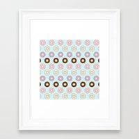 doughnut Framed Art Prints featuring Doughnut Polka by Karolis Butenas
