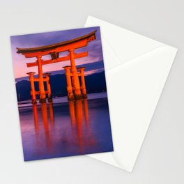 Wonderful sunset colors at the famous floating Torii Gate on Miyagima Island, Japan. Stationery Cards