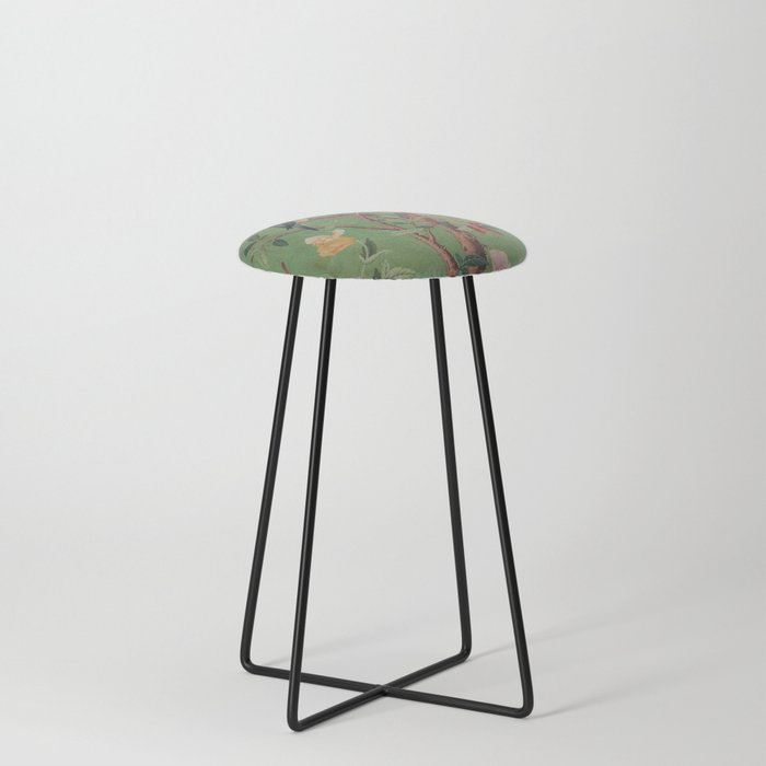 Green Dream Chinoiserie Counter Stool