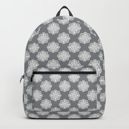 Floral Doily Pattern | Grey and White Backpack