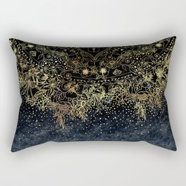 Stylish Gold floral mandala and confetti Rectangular Pillow