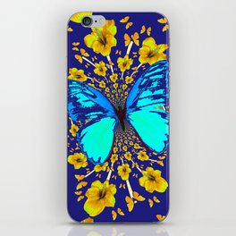 TURQUOISE BLUE YELLOW AMARYLLIS BUTTERFLY ART iPhone Skin