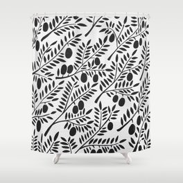 Black Olive Branches Shower Curtain
