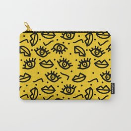 Face Time - retro throwback minimal pattern eyes faces 1980s 80s vintage memphis drawing monochrome Carry-All Pouch
