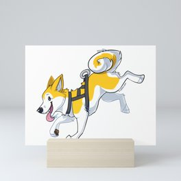 Yellow Husky Running Mini Art Print