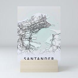 Santander, Spain, White, City, Map Mini Art Print