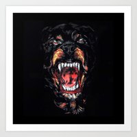 givenchy Art Prints featuring Givenchy Dog by I Love Decor